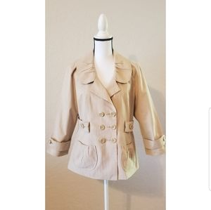 Khaki Double Breasted Peter Pan Collar Jacket